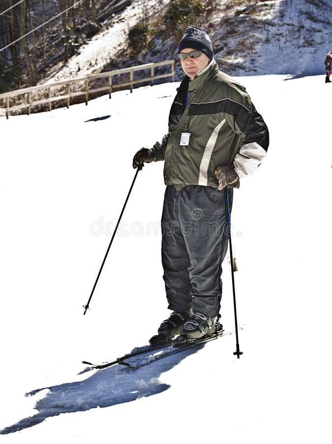 Man at a Ski Resort royalty free stock image
