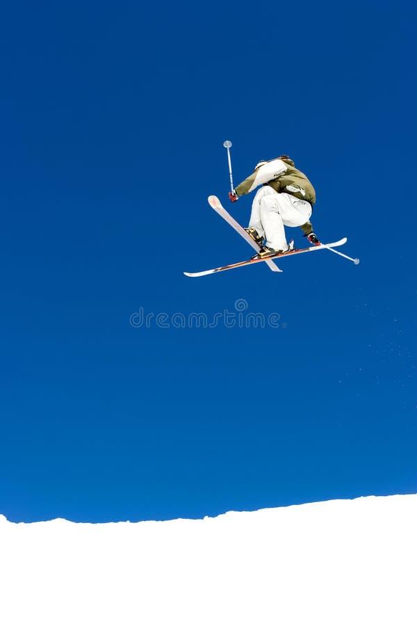 Man skiing on slopes of Pradollano ski resort in Spain stock images