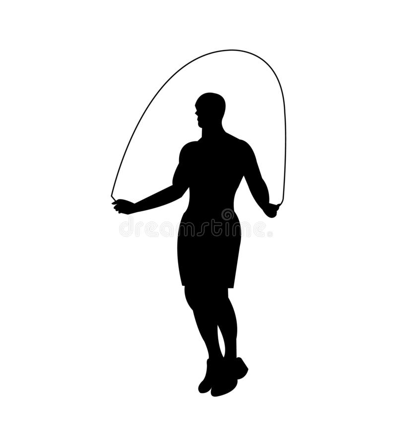 Man skipping a rope black silhouette royalty free illustration