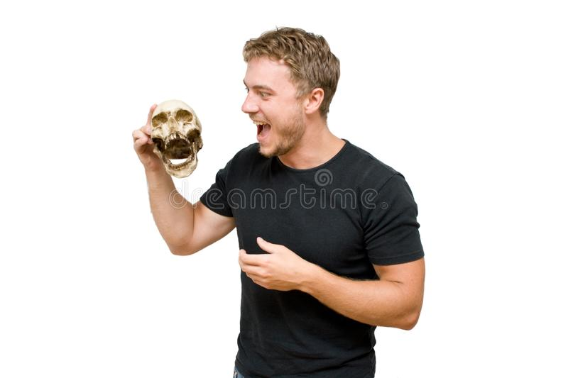 Man with a skull stock photo