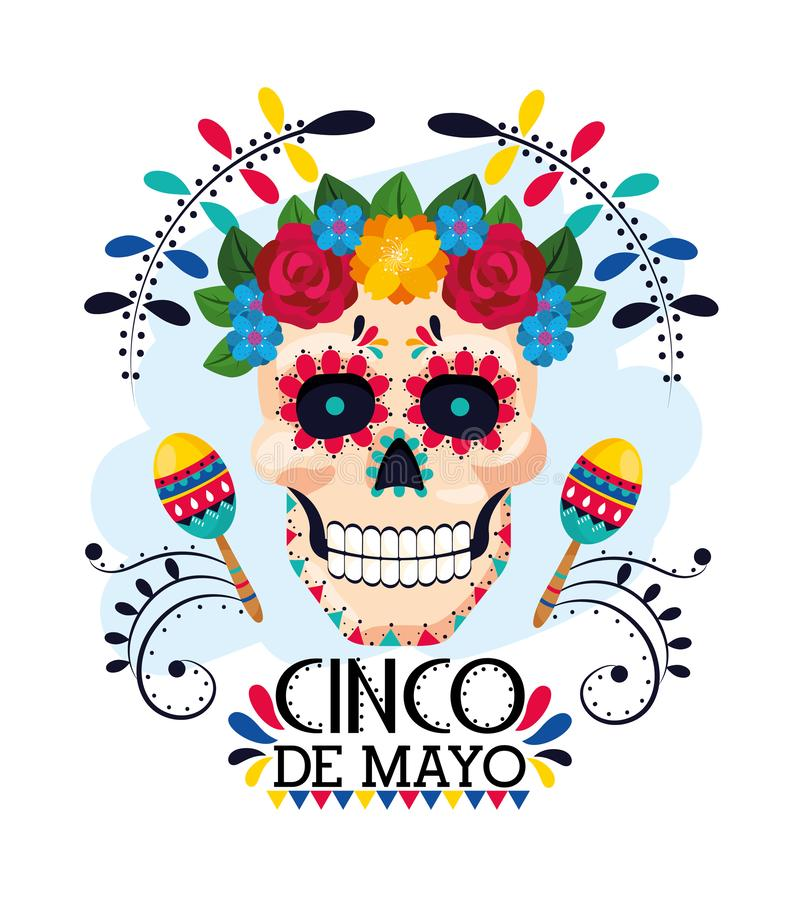 Man skull with flowers decoration and maracas stock illustration