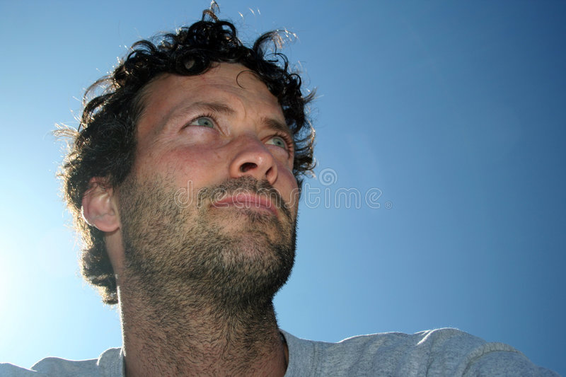 Download Man and Sky stock image. Image of weathered, thinking, whiskers - 628245