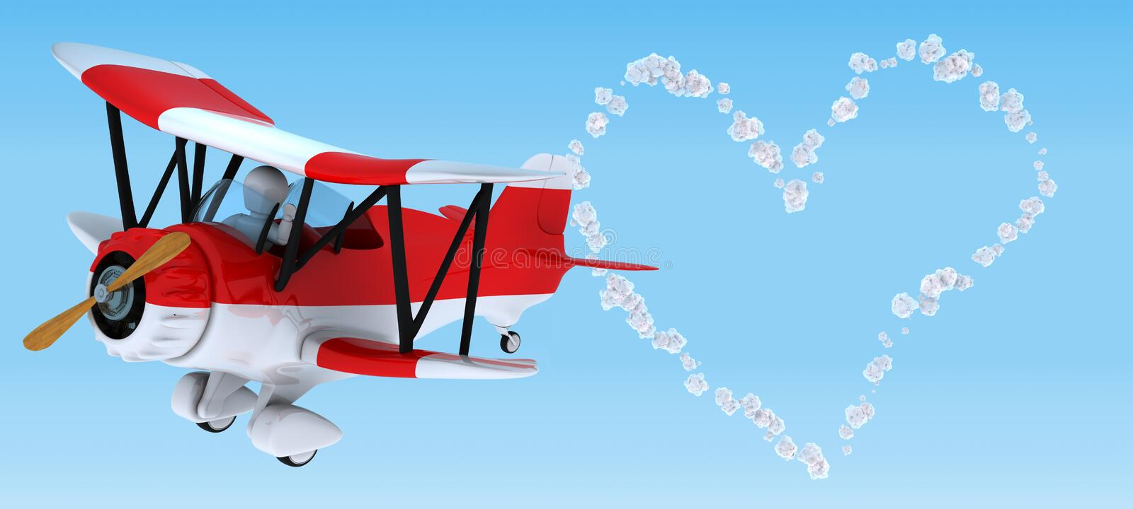 Download Man Sky Writing In A Biplane Stock Illustration - Image: 23295206
