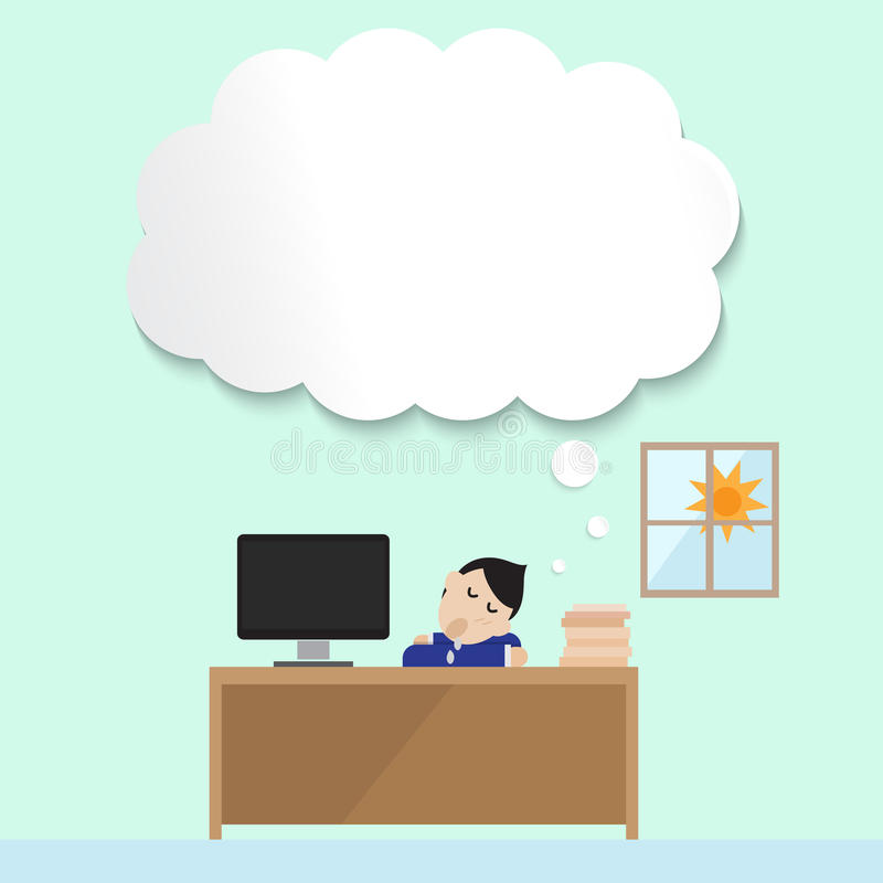 Man sleep in office with empty bubble. For his daydream stock illustration