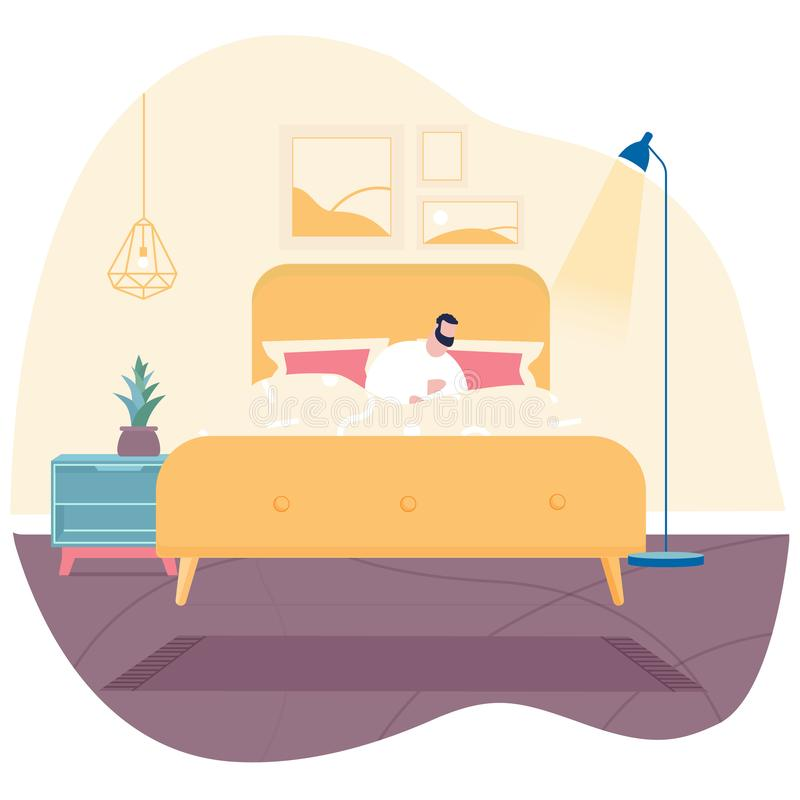 Man sleeping on bed  illustration royalty free illustration