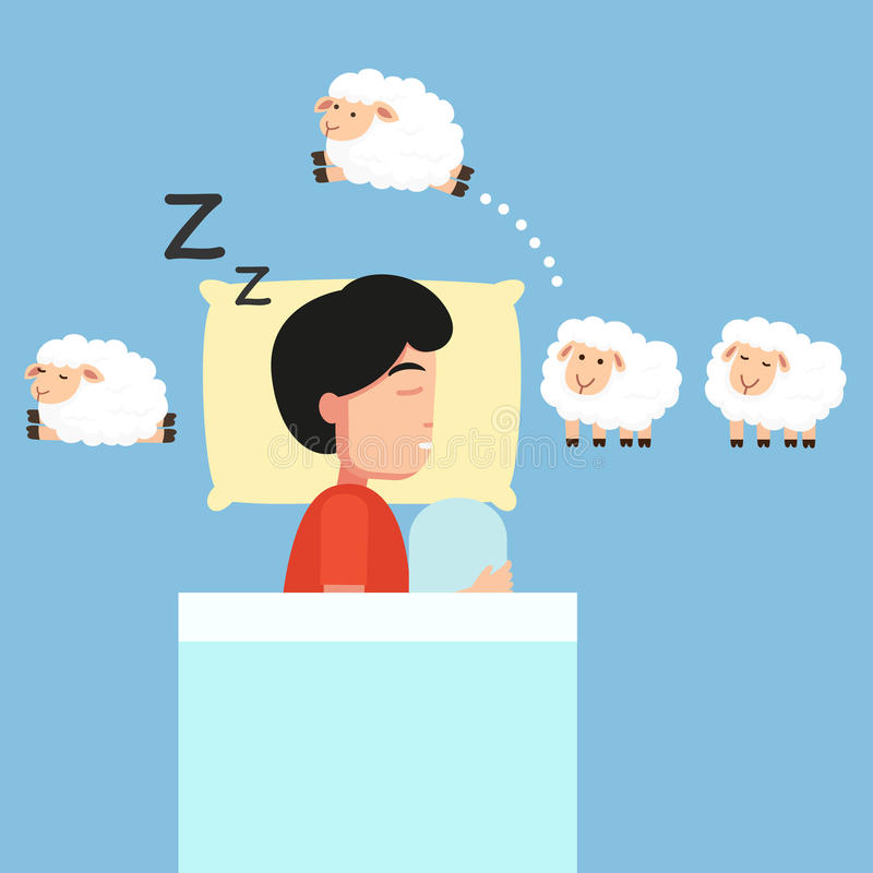 Man sleeping,Counting sheep to fall asleep illustration. stock illustration