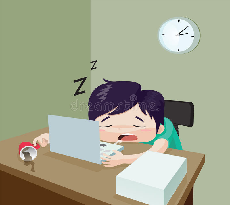 The Man is sleeping on the desk work. Concept : too much work, tried, work hard, cartoon stock illustration