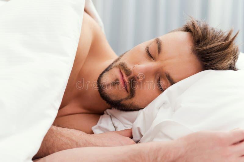 Man sleeping. stock photos