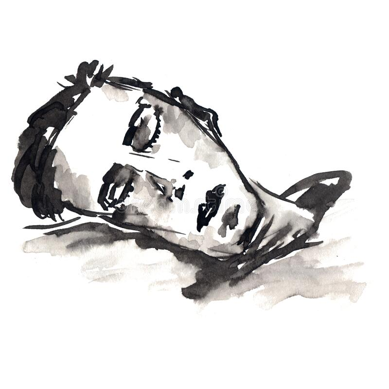 Man sleeping - illustration sketch black and white spots and lines ink stock illustration