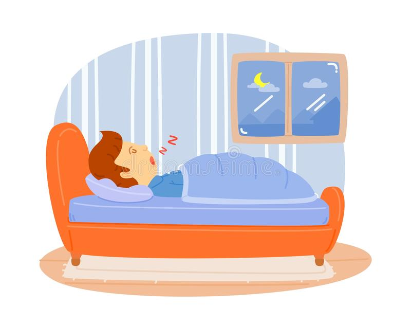 Man sleeping. On the bed in the bedroom. Relax from fatigue,cute vector, cartooning style, colorful illustration royalty free illustration