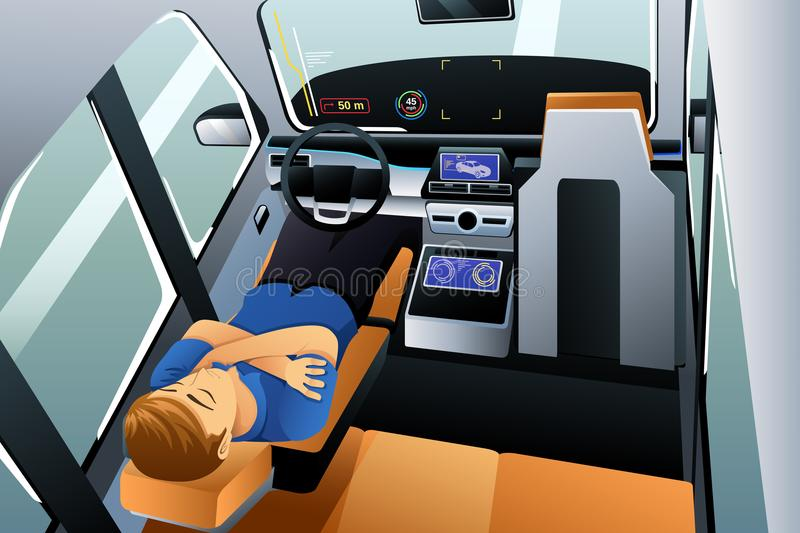 Man Sleeping in Self Driving Car Illustration stock illustration