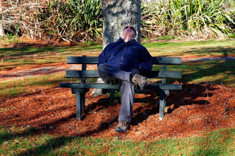 A man sleeping in the sunshine on a park bench royalty free stock photos