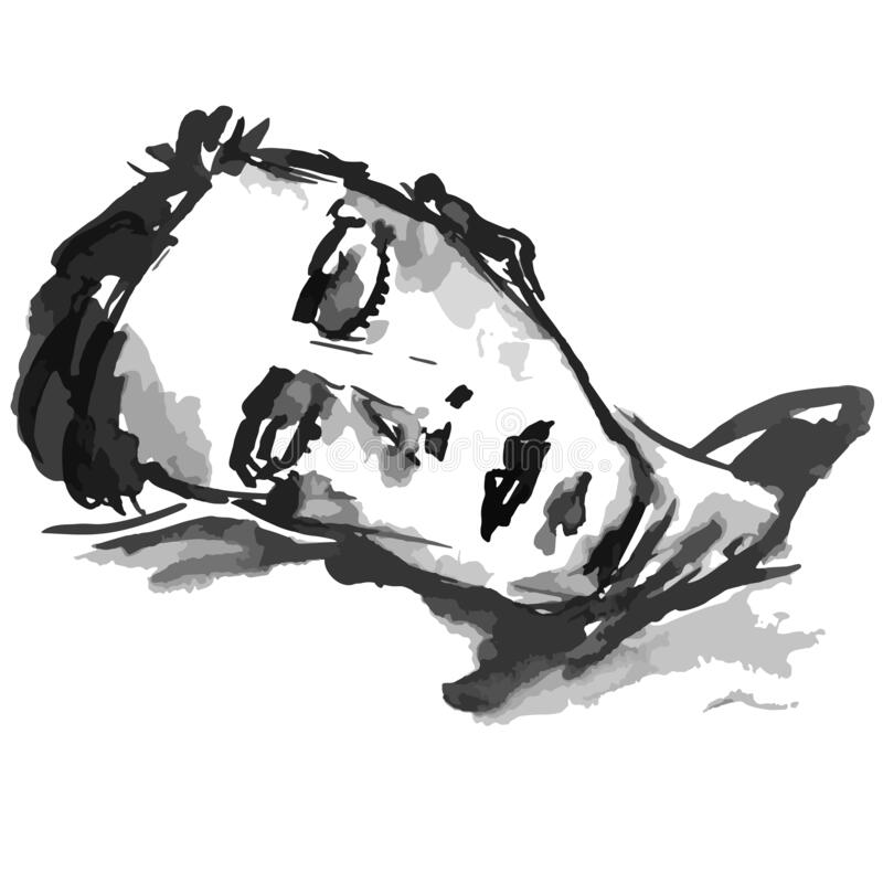 Man sleeping - vector illustration black and white spots and lines stock illustration