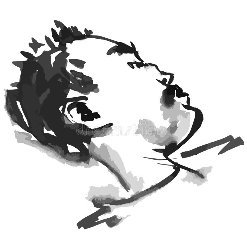 Man sleeping - vector illustration black and white spots and lines royalty free illustration