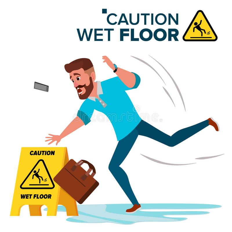 Man Slips On Wet Floor Vector. Caution Sign. Isolated Flat Cartoon Character Illustration. Man Slips On Wet Floor Vector. Modern Businessman. Situation In Office vector illustration