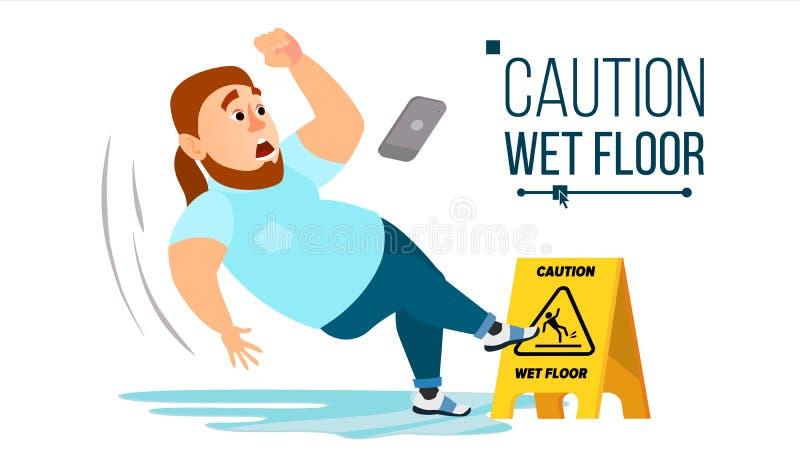 Man Slips On Wet Floor Vector. Modern Businessman. Situation In Office. Danger Sign. Clean Wet Floor. Isolated Flat. Man Slips On Wet Floor Vector. Caution Sign stock illustration