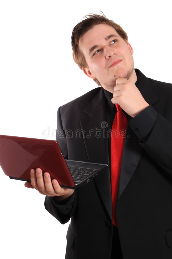 Man with small computer laptop royalty free stock images