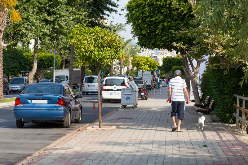 A man with a small dog is walking along a city street royalty free stock photo