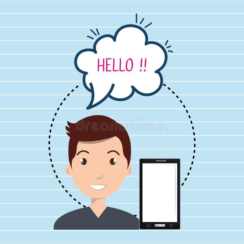man smartphone bubble speech vector illustration