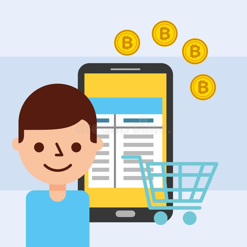 man and smartphone online shopping bitcoin royalty free illustration