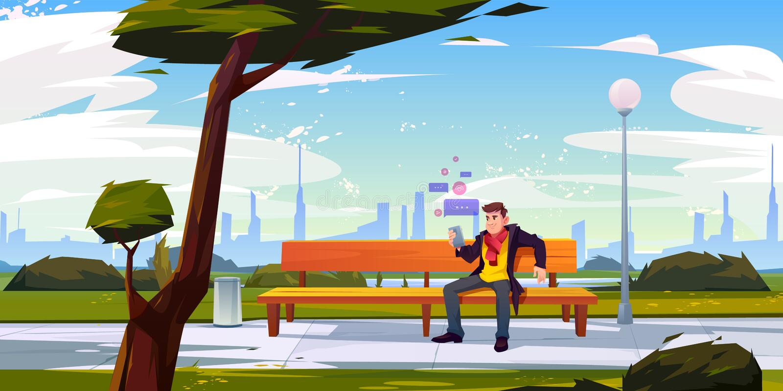 Man with smartphone sitting on bench in city park. Using wifi for internet social media networking and sending messages at summer time. Person with mobile phone royalty free illustration