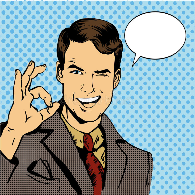 Man smile and shows OK hand sign with speech bubble. Vector illustration in retro comic pop art style.  vector illustration