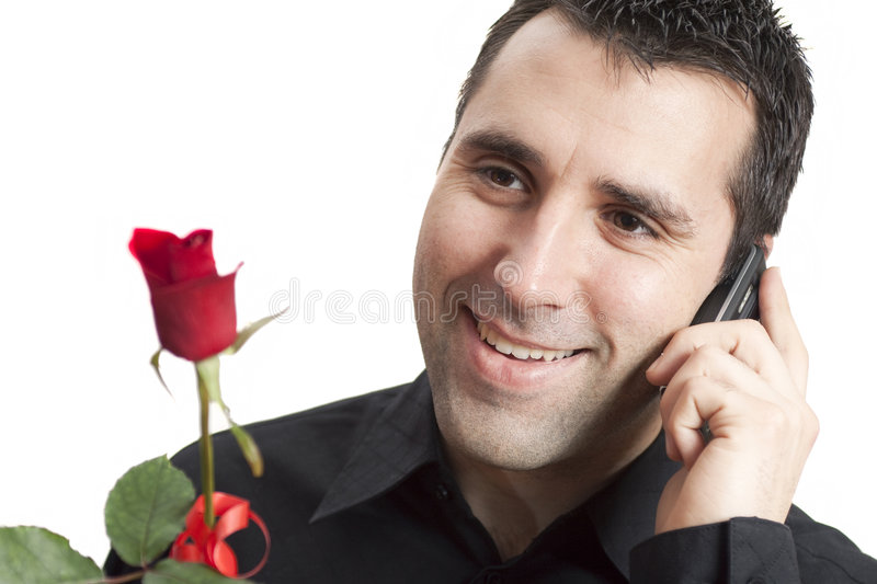 Download Man Smiling, Talking On Cellphone, Holding Red Ros Royalty Free Stock Photos - Image: 8840788