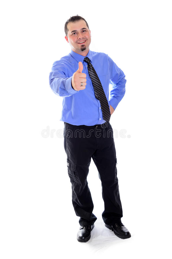 Man smiling, thumbs up in shirt and tie. A business man in blue shirt and tie smiling and giving a thumbs up stock photo