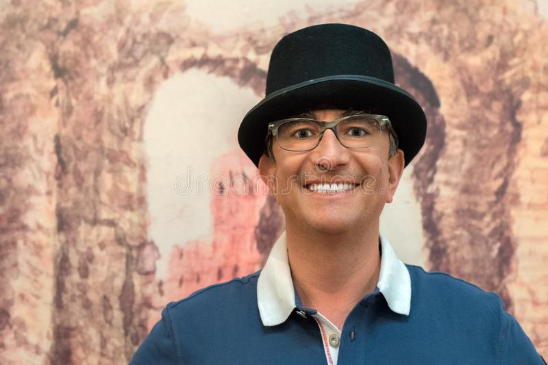 Man with bowler hat and big smile royalty free stock photos
