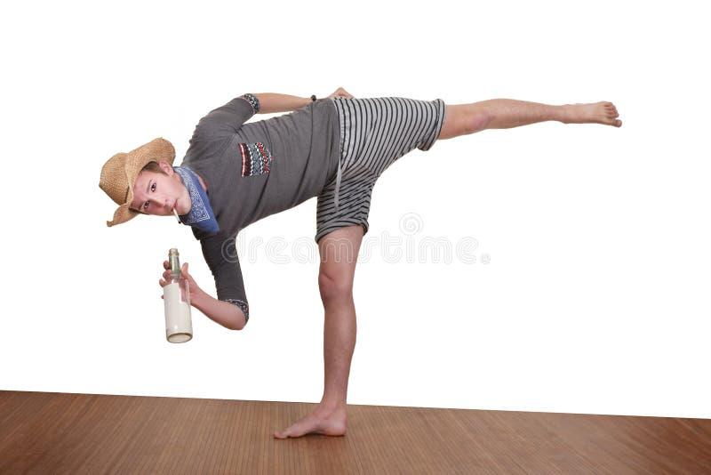 Man Smokes While Exercising Stock Photography