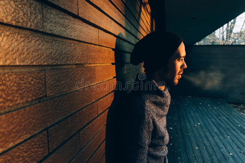 Man smoking a cigarette royalty free stock images