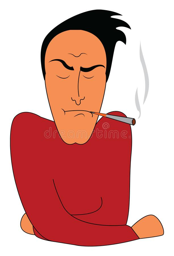 A tensed man smoking vector or color illustration royalty free illustration
