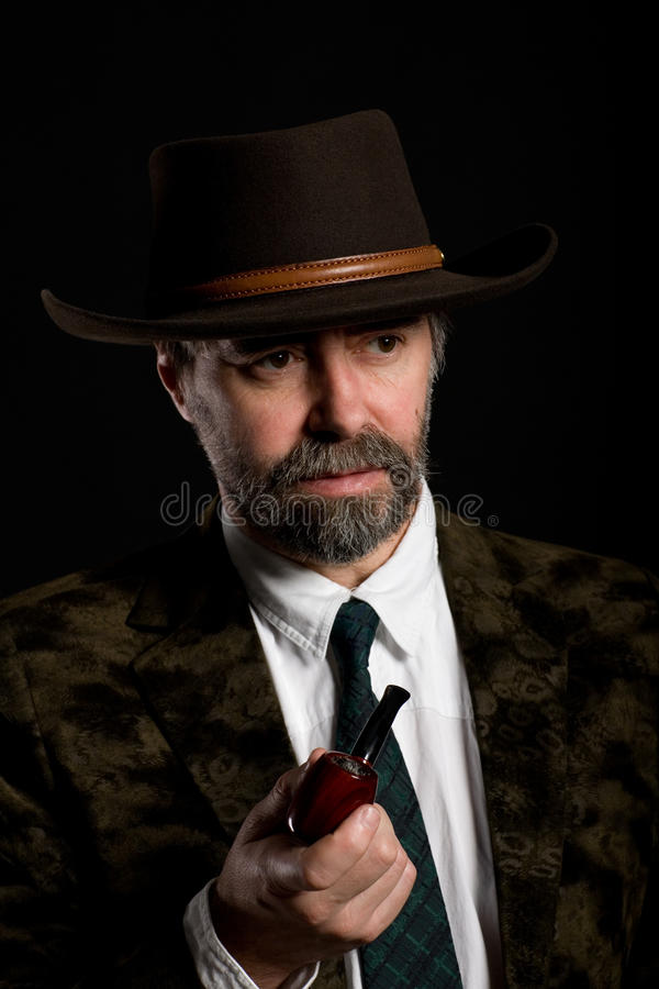 Download Man with a smoking pipe. stock image. Image of fashion - 17313627
