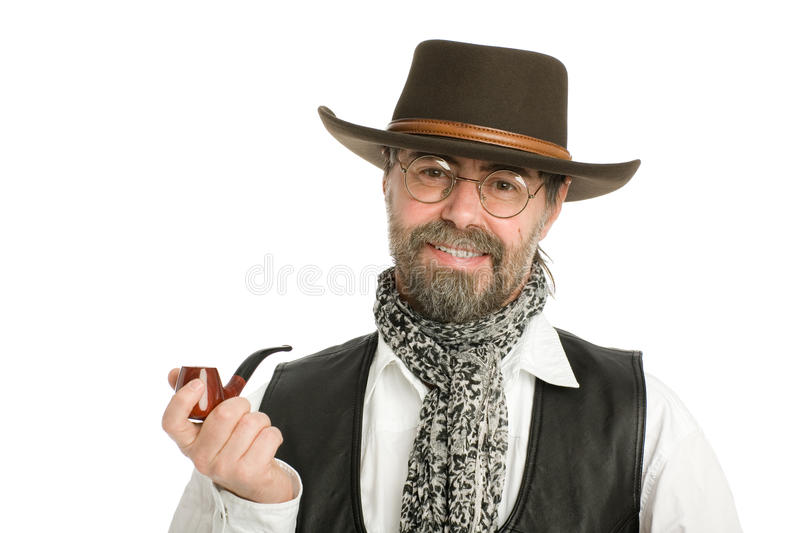 Man with a smoking pipe.