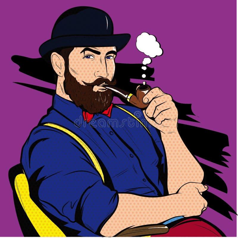 Man Smoking Pipe Vector Pop Art royalty free stock images