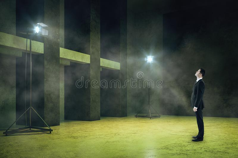 Man in smoky room stock image