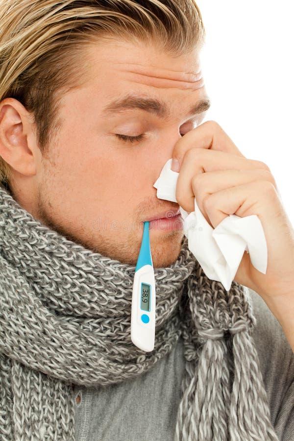 Download Man sneezing stock image. Image of caucasian, sick, scarf - 20637113