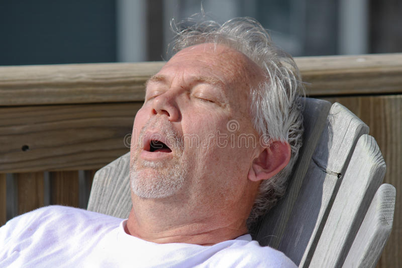 Man Snoring Outdoor Nap royalty free stock photo