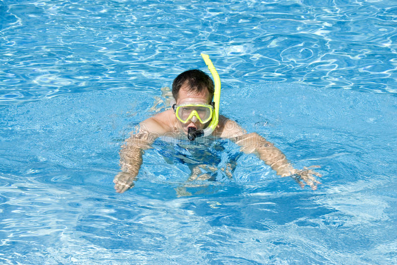 Man Snorkeling In A Pool Stock Photo