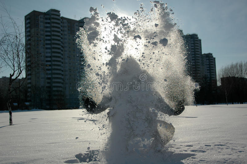Download Man in snow stock photo. Image of blight, snow, throw - 25688050
