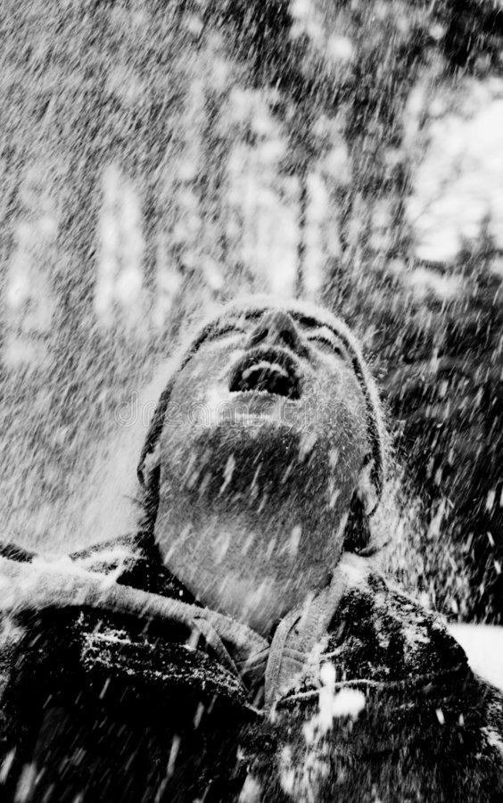 Man In The Snow Rain Stock Image. Image Of Happy, Snow