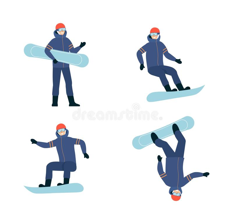 Man a snowboarder in a sportive suit flat vector illustration isolated on white. royalty free illustration