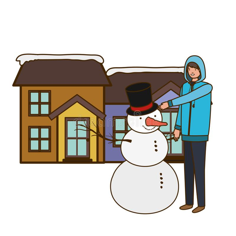 Man with snowman outside of the house vector illustration