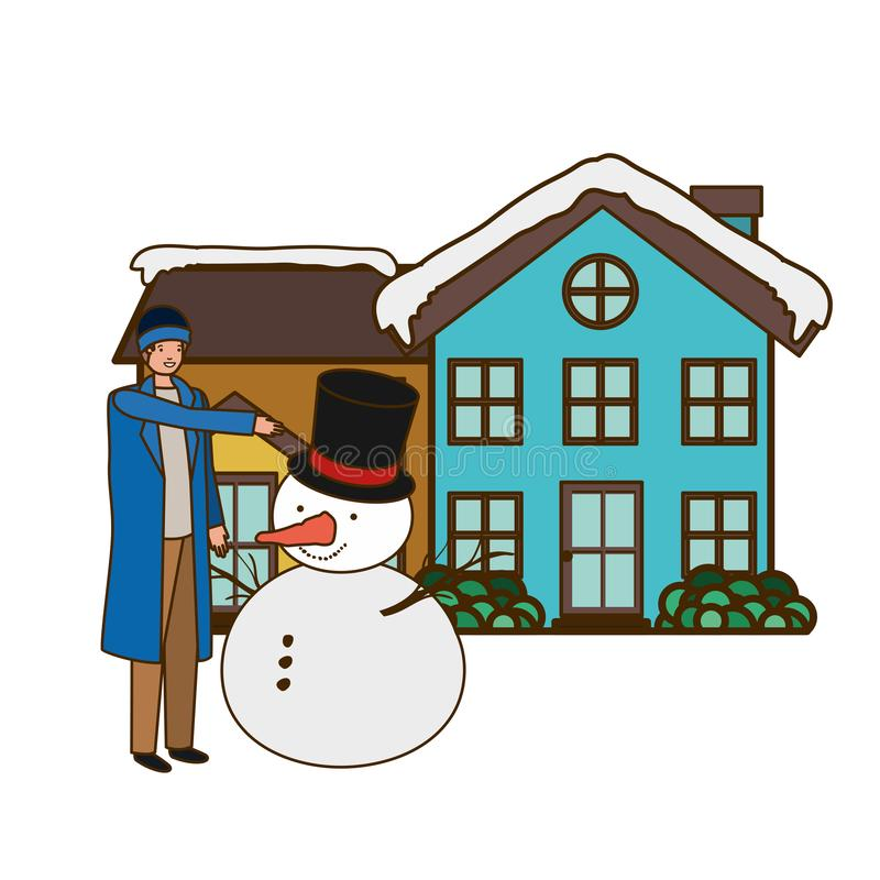 Man with snowman outside of the house. Vector illustration desing stock illustration