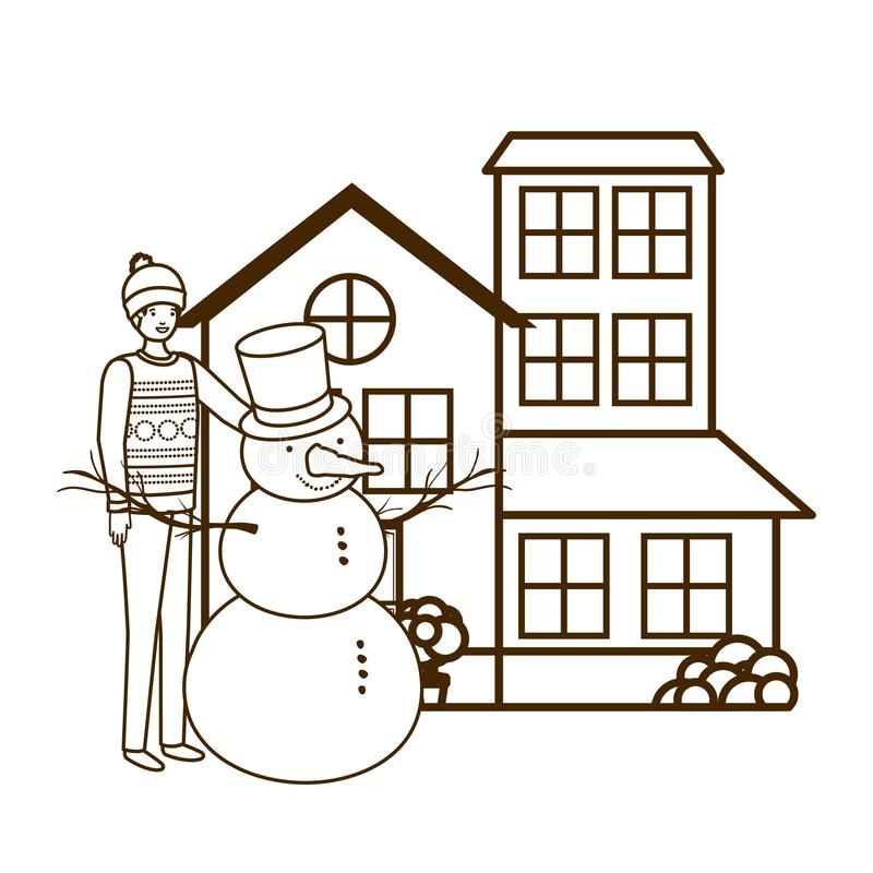 Man with snowman outside of the house. Vector illustration desing vector illustration