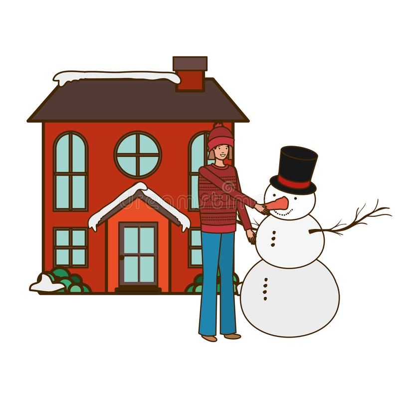 Man with snowman outside of the house royalty free illustration