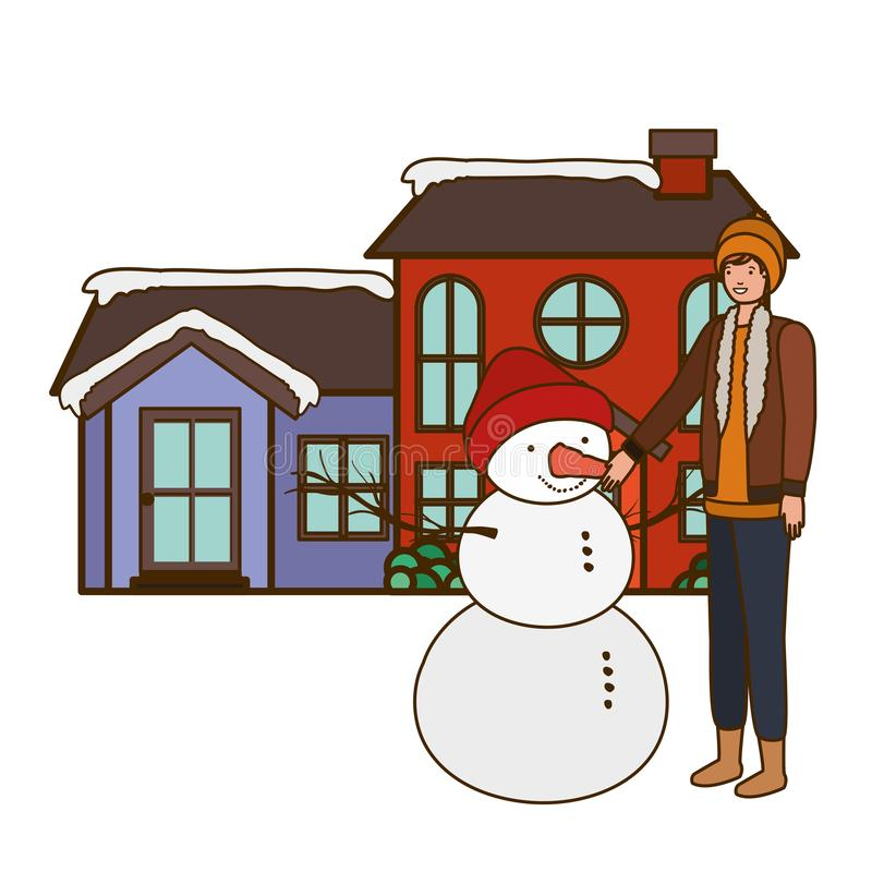 Man with snowman outside of the house stock illustration