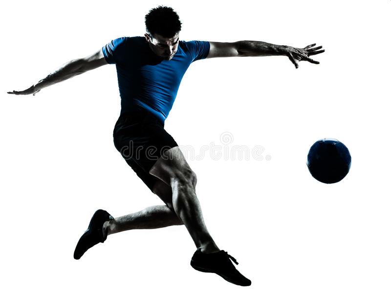 Man soccer football player flying kicking royalty free stock photos