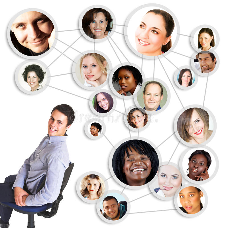 Man and social network stock illustration