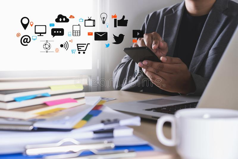 Man social network concept businessman using smart phone royalty free illustration